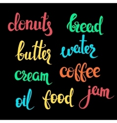 Food theme lettering vector