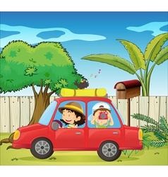 A car at the backyard vector image vector image