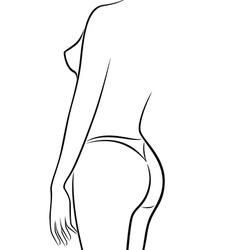 Abstract female body half turn back in bikini vector