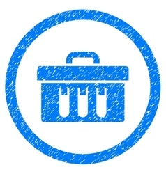 Analysis box rounded icon rubber stamp vector
