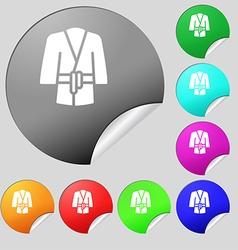 Bathrobe icon sign set of eight multi colored vector