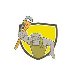 Bulldog Plumber Monkey Wrench Shield Cartoon vector image vector image