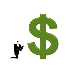 Businessman praying to dollar prayer cash pray vector
