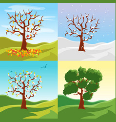 Cartoon tree seasons set on a nature landscape vector
