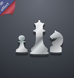 Chess game icon symbol 3d style trendy modern vector
