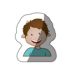 Color sticker happy boy icon vector