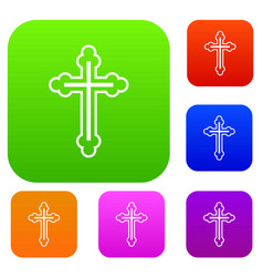 crucifix set collection vector image vector image