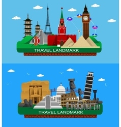 famous world landmarks vector image vector image