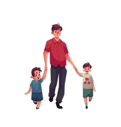 Father with two son walking together vector