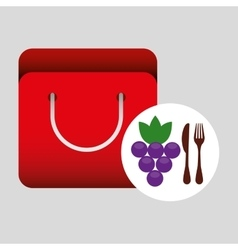 Grocery bag grape nutrition fruit vector