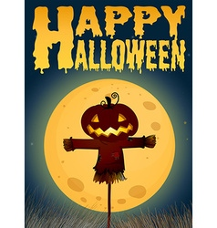 Halloween theme with scarecrow on fullmoon vector