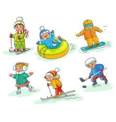 hand drawn kids children doing winter activities vector image vector image