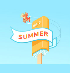 hello summer on ribbon with plate and icecream vector image vector image