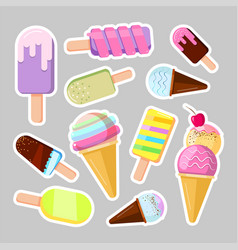 ice cream stickers cute cartoon vector image vector image