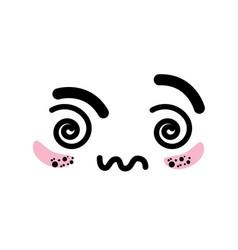 Isolated cute kawaii face vector