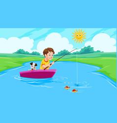 lake fishing vector image