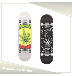 Medical marijuana skateboard four vector