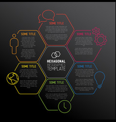 Modern dark hexagonal infographic report template vector