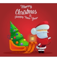 Santa claus with sleigh and christmas tree vector