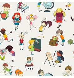 School kids doodle seamless pattern vector image