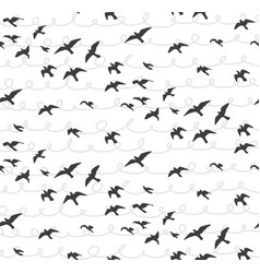 Seagulls abstract seamless pattern flying birds vector