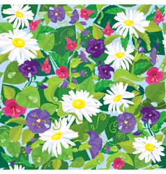 Seamless background with beautiful flowers vector