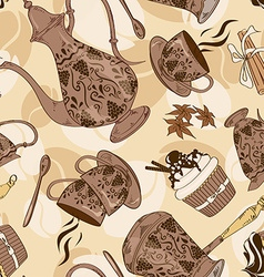 Seamless pattern of coffee service vector image vector image