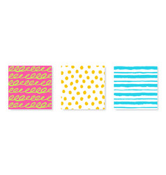 Set of three seamless patterns in bright vector