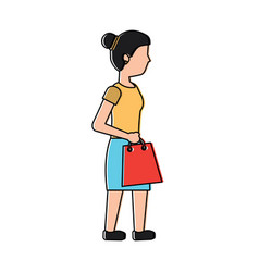 young woman walking with shopping bag vector image