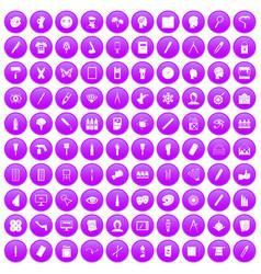 100 paint icons set purple vector