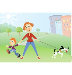 Mother with naughty boy and dog vector