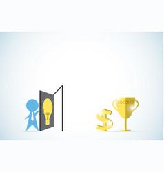 businessman open the lightbulb door vector image
