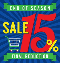 15 percent end of season sale vector