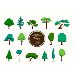 Green tree set in hand drawn style vector