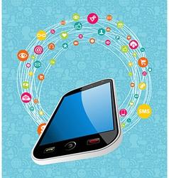 Mobile social media concept vector