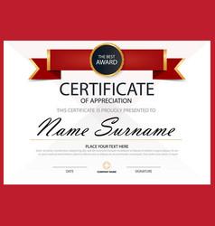 Red elegance horizontal certificate template vector
