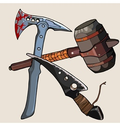 Weapon against the zombies ax knife hammer vector
