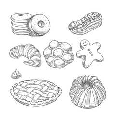 Hand drawn sketch confections dessert pastry vector