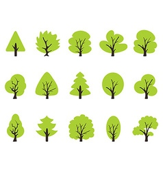 Simple green tree icons set vector