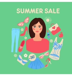 Shopping summer sale in flat design with woman vector