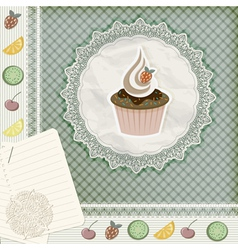 invitation template with cupcake vector image