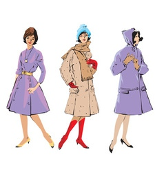Set of elegant women - retro style fashion models vector