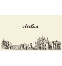 Milan skyline italy hand drawn sketch vector