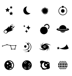 Black space icon set vector