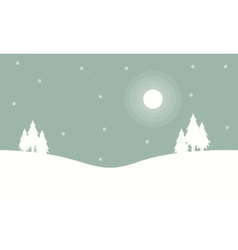 At night tree winter christmas landscape vector