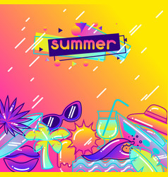 Background with stylized summer objects abstract vector