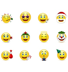 Bright emoticons with holiday attributes vector