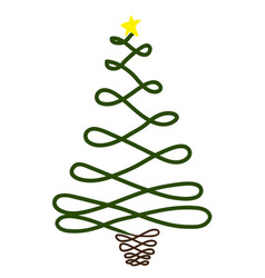 christmas tree with star on background vector image