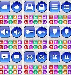 Cloud printer list sound key brush chat bubble car vector