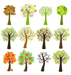 Collection Of Trees vector image vector image